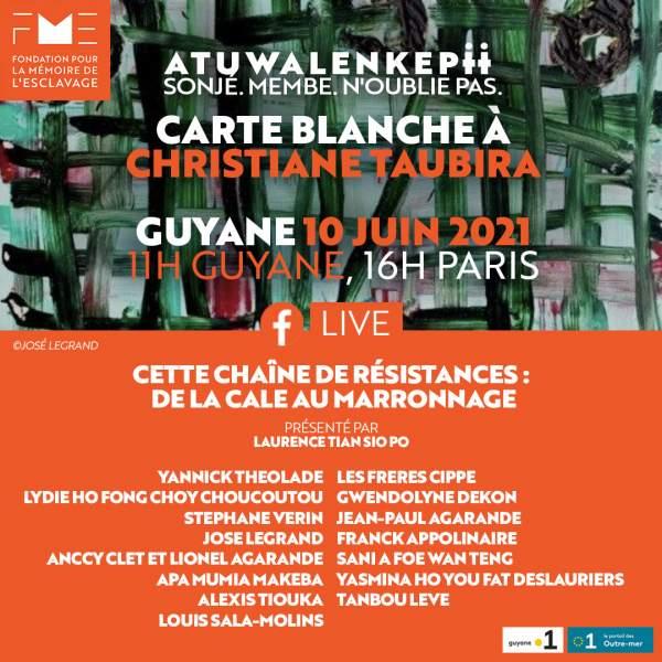 Cette chaîne de résistances : de la cale au marronnage »  Le 10 juin, une Carte Blanche à Christiane Taubira pour les 20 ans de la loi du 21 mai 2001