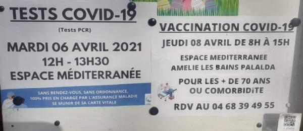 COVID 19:Amélie-les-bains dépiste sa population depuis le 12 novembre 2020.Prochaine date: mardi 9 février  2021 (12h à 14h).